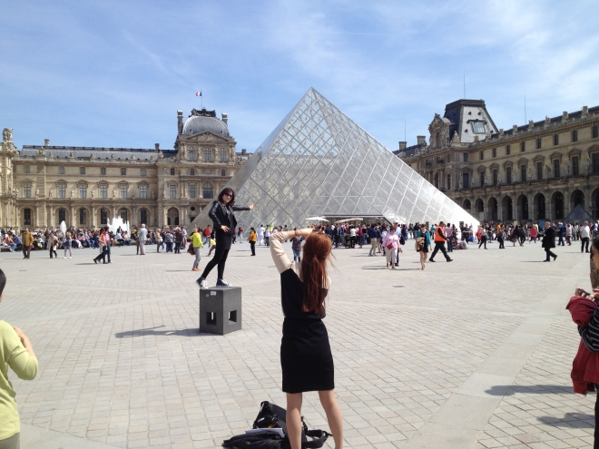 Tourist Photo Op, The Louvre, Paris France