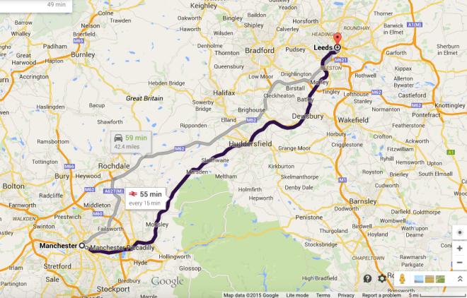 Leeds Manchester Map