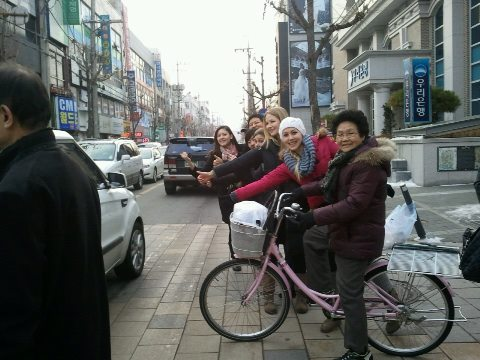 Ajumma on pink bike